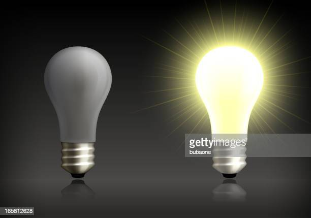 light bulb on and off background - brightly lit stock illustrations