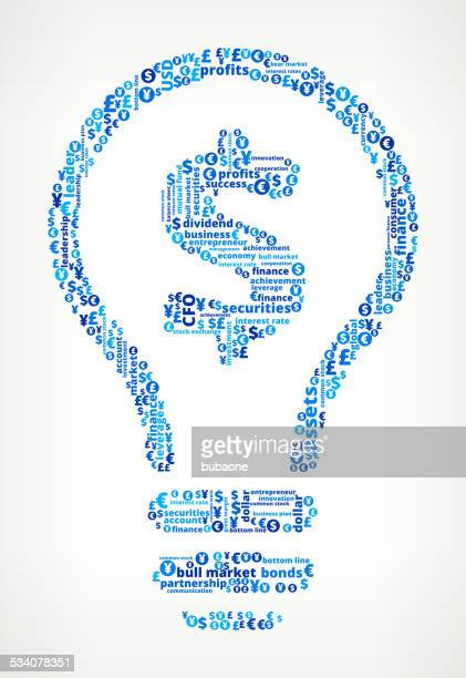 Light Bulb on Business and Finance Word Cloud