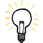 Light Bulb On White Board Illustration