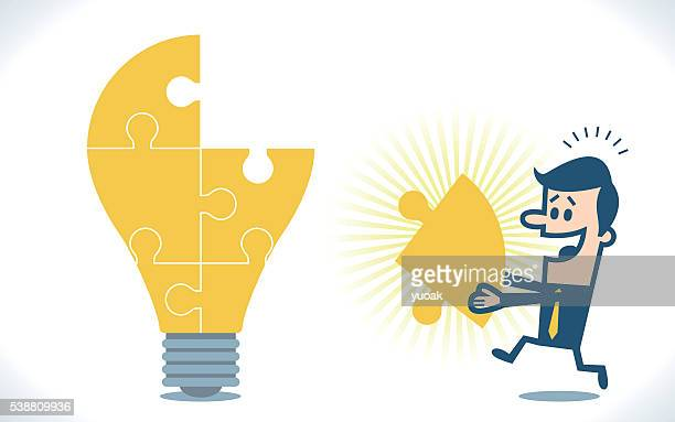 light bulb puzzle - giant stock illustrations, clip art, cartoons, & icons