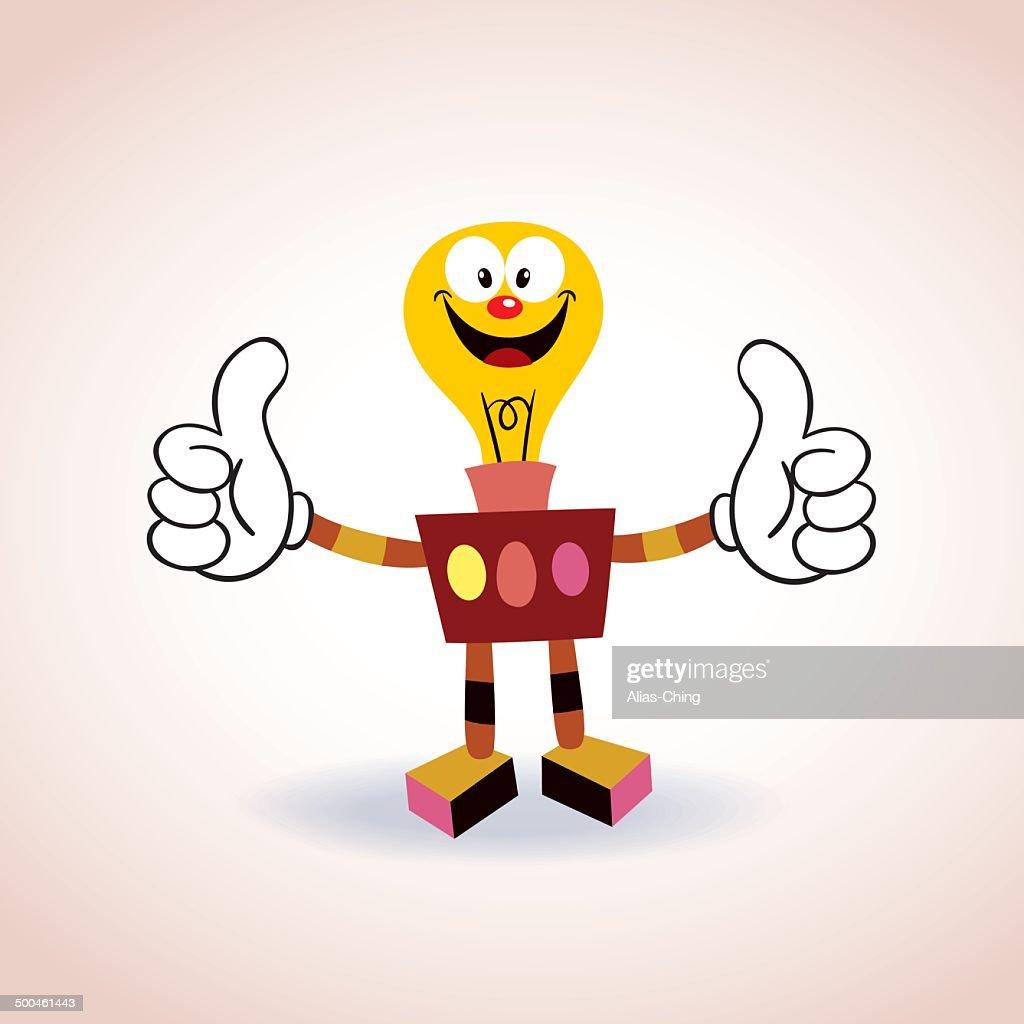 light bulb robot mascot cartoon character