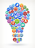 Light Bulb royalty-free vector Social Networking and Internet Icon Set