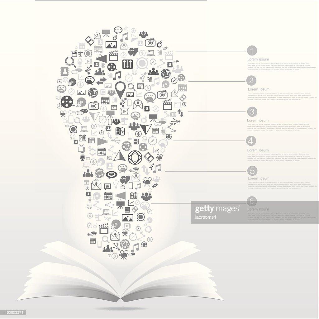 Glühbirne Socialmediagray Bunte Bildung Symbole In Buchen ...
