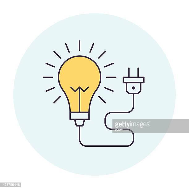 light bulb symbol - electric plug stock illustrations, clip art, cartoons, & icons