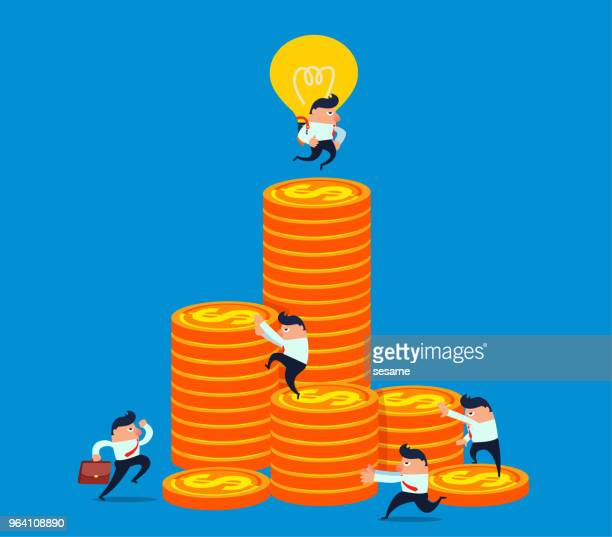 Light bulb with a businessman flying to the top of a gold coin at once