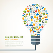 Light Bulb with ecology Icons Pattern. Vector Illustration.
