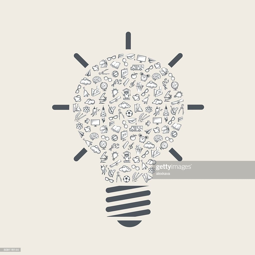 light bulb with education elements