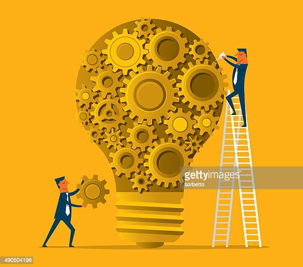 light bulb with gears - determination stock illustrations