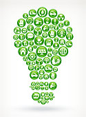 Light Bulb with Green Energy Buttons