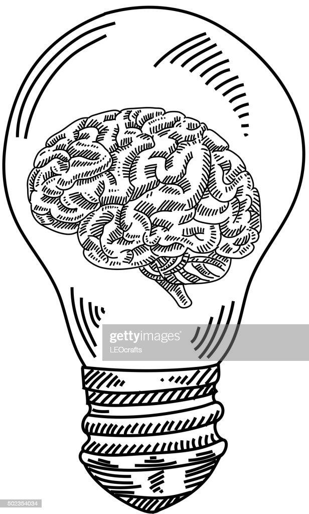 light bulb with human brain drawing stock illustration