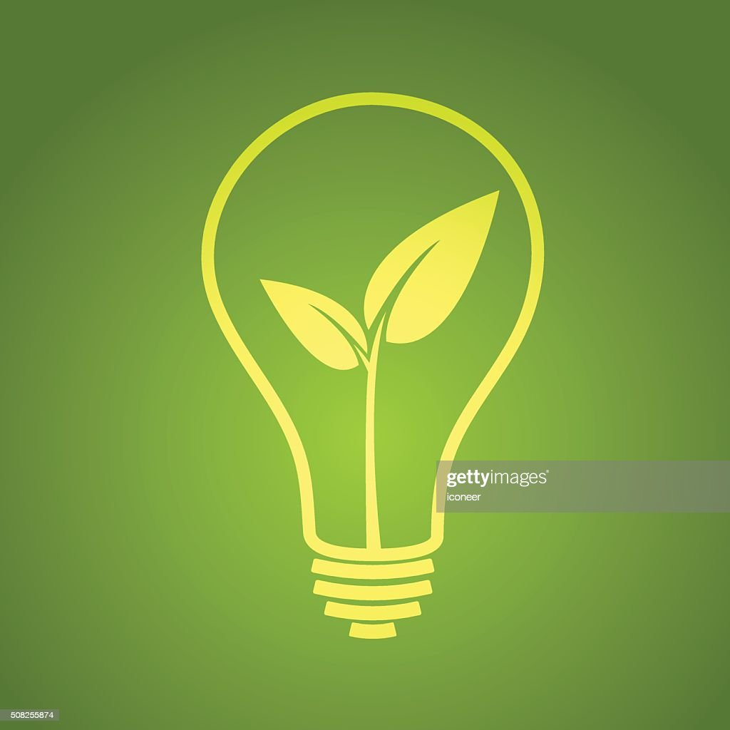 Light Bulb With Leaf Green Electricity On Green Background Vector ... for Green Light Bulb Logo  76uhy