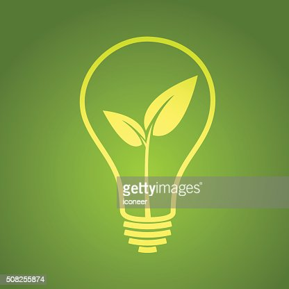 Light Bulb With Leaf Green Electricity On Background Vector Art