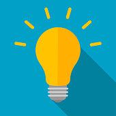 Light bulb with long shadow. Vector flat illustration.