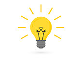 Light bulb with rays. Lighting Electric lamp. Creative idea, solution, thinking concept