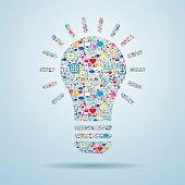 Light bulb with social media icons.