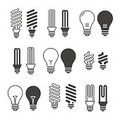 Light bulbs. Bulb icon set. Isolated on white background. Electr