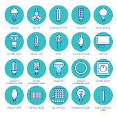 Light bulbs colored flat line icons. Led lamps types, fluorescent, filament, halogen, diode and other illumination. Thin linear signs for idea concept, electric shop