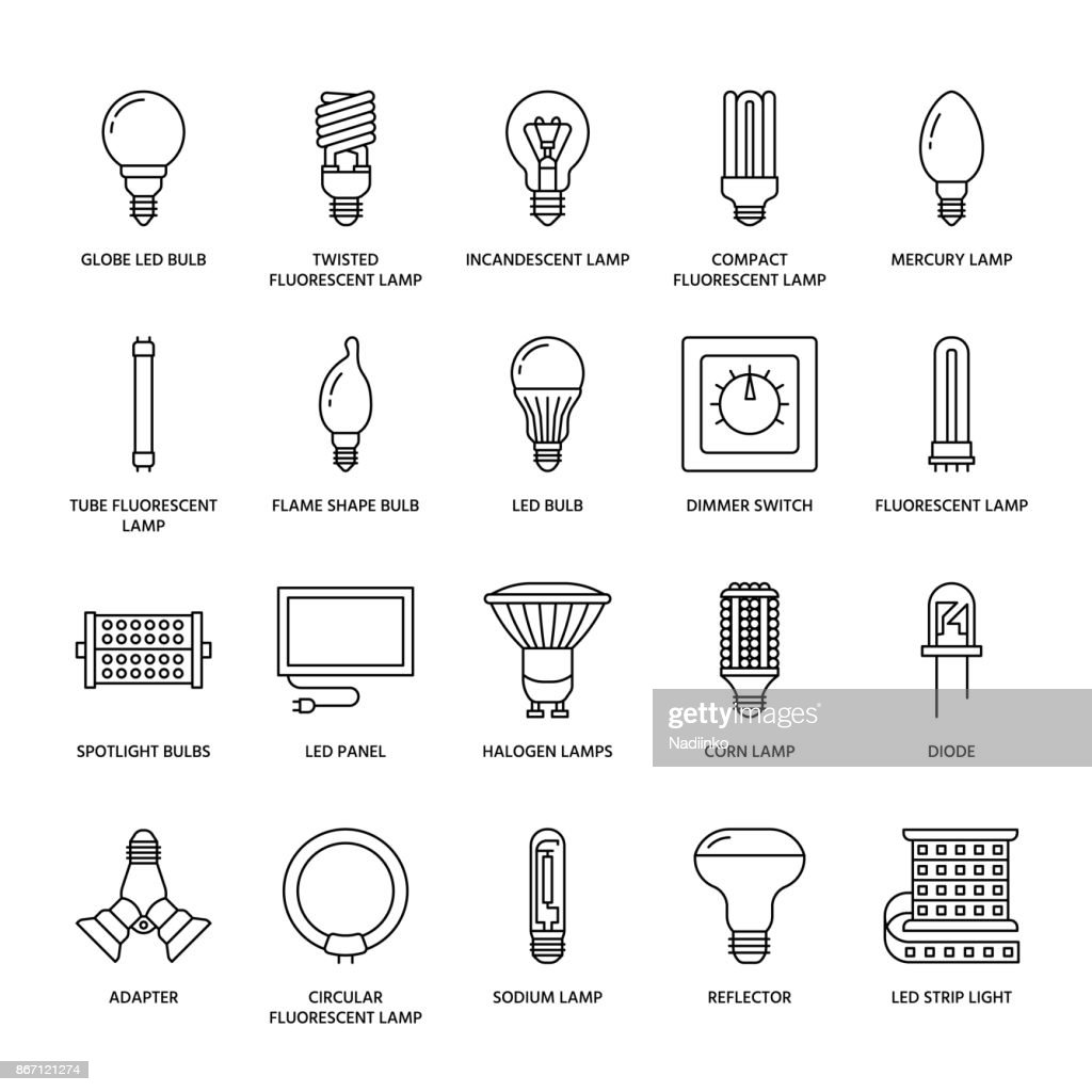 Light bulbs flat line icons. Led lamps types, fluorescent, filament, halogen, diode and other illumination. Thin linear signs for idea concept, electric shop