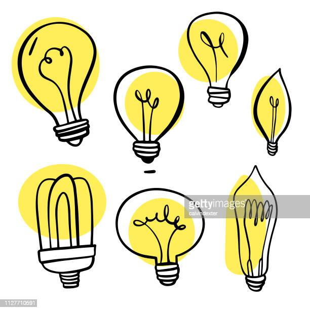 stockillustraties, clipart, cartoons en iconen met light bulbs hand getekende collectie - idee