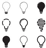 Light bulbs, icon set