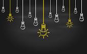 Light bulbs on a blackboard background.