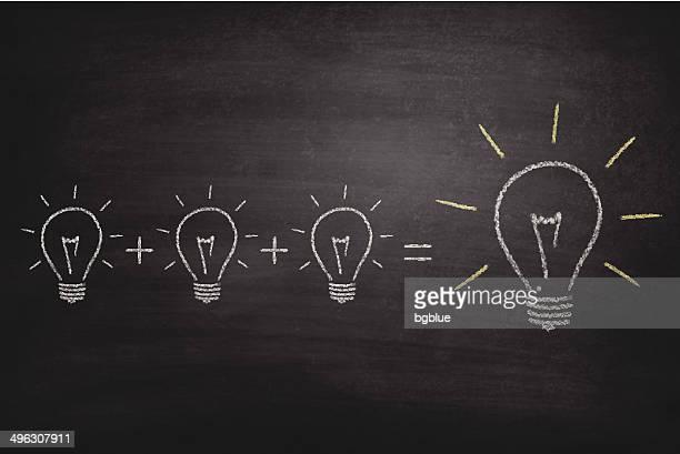 light bulbs on blackboard - chalkboard - plus sign stock illustrations, clip art, cartoons, & icons