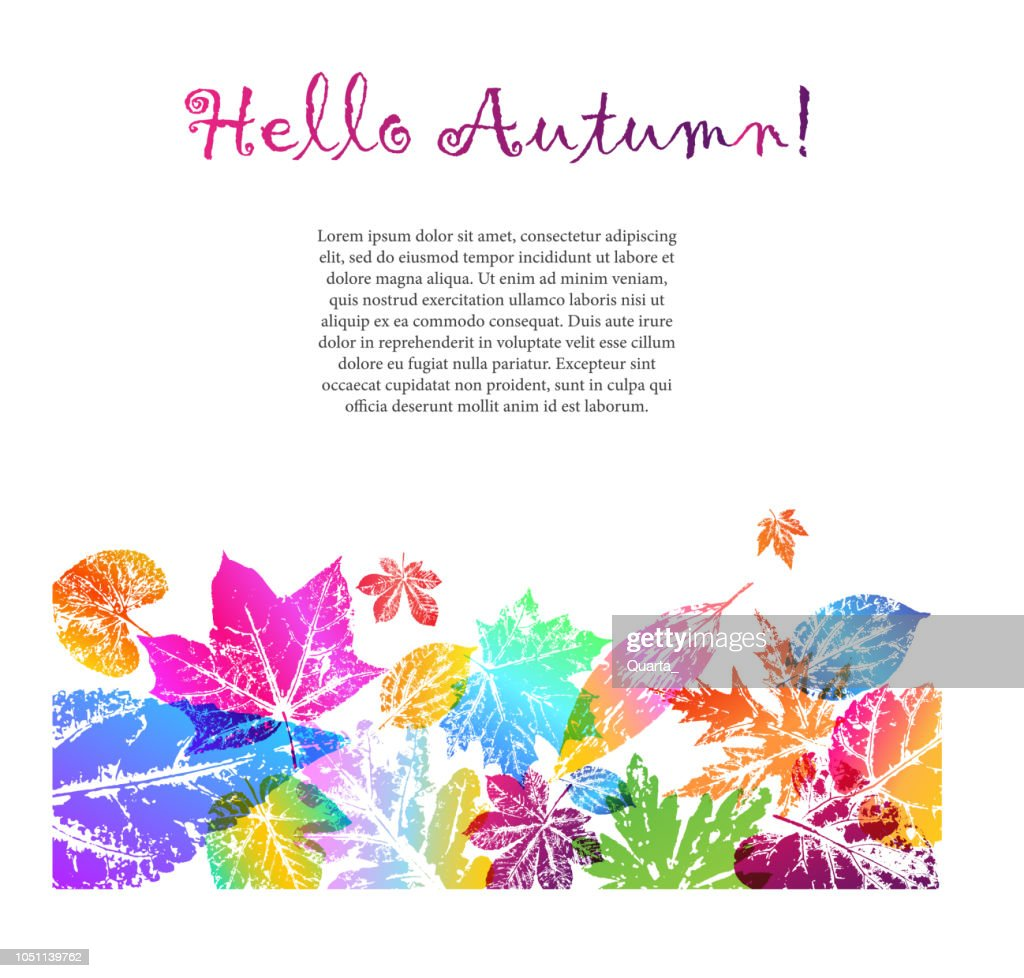 Light card with autumn leaf prints in bright trendy gradient color