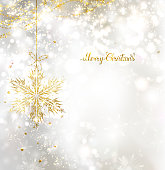 light Christmas background with snowflake