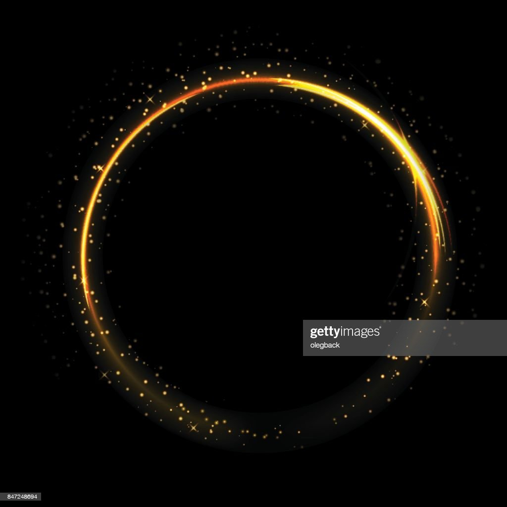 Light circle on black background. Fire ring glowing trace. Vector fire gold circle.