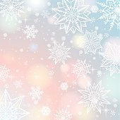 Light color background with snowflakes and stars, vector