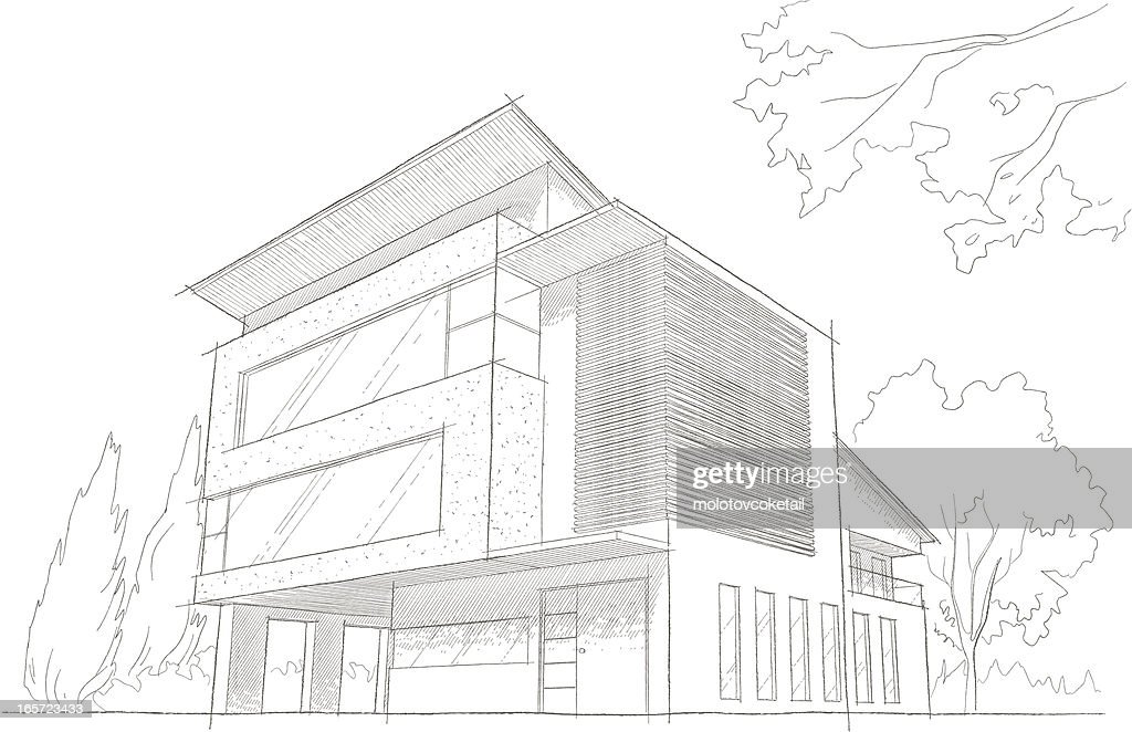 Light detailed sketch of a modern building