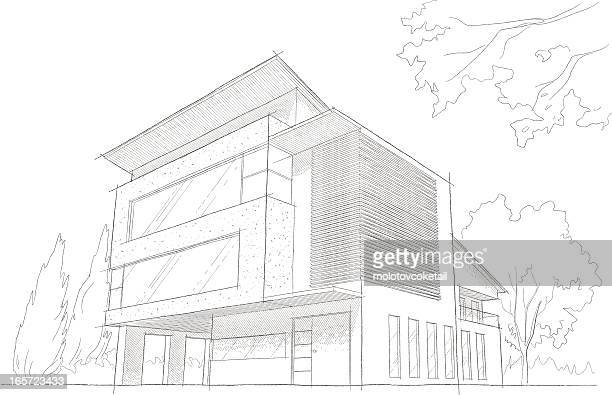 light detailed sketch of a modern building - architecture stock illustrations