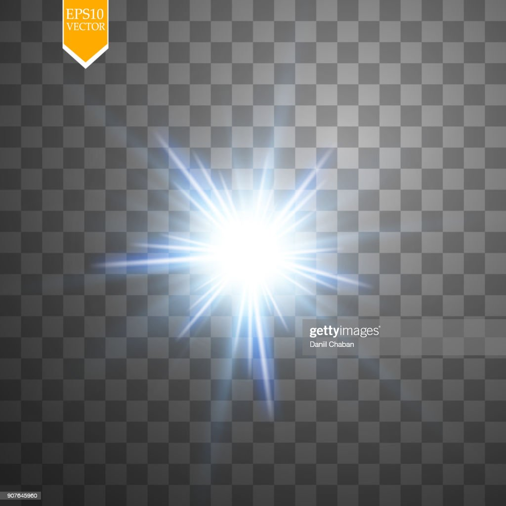 Light digital star on the transparent background