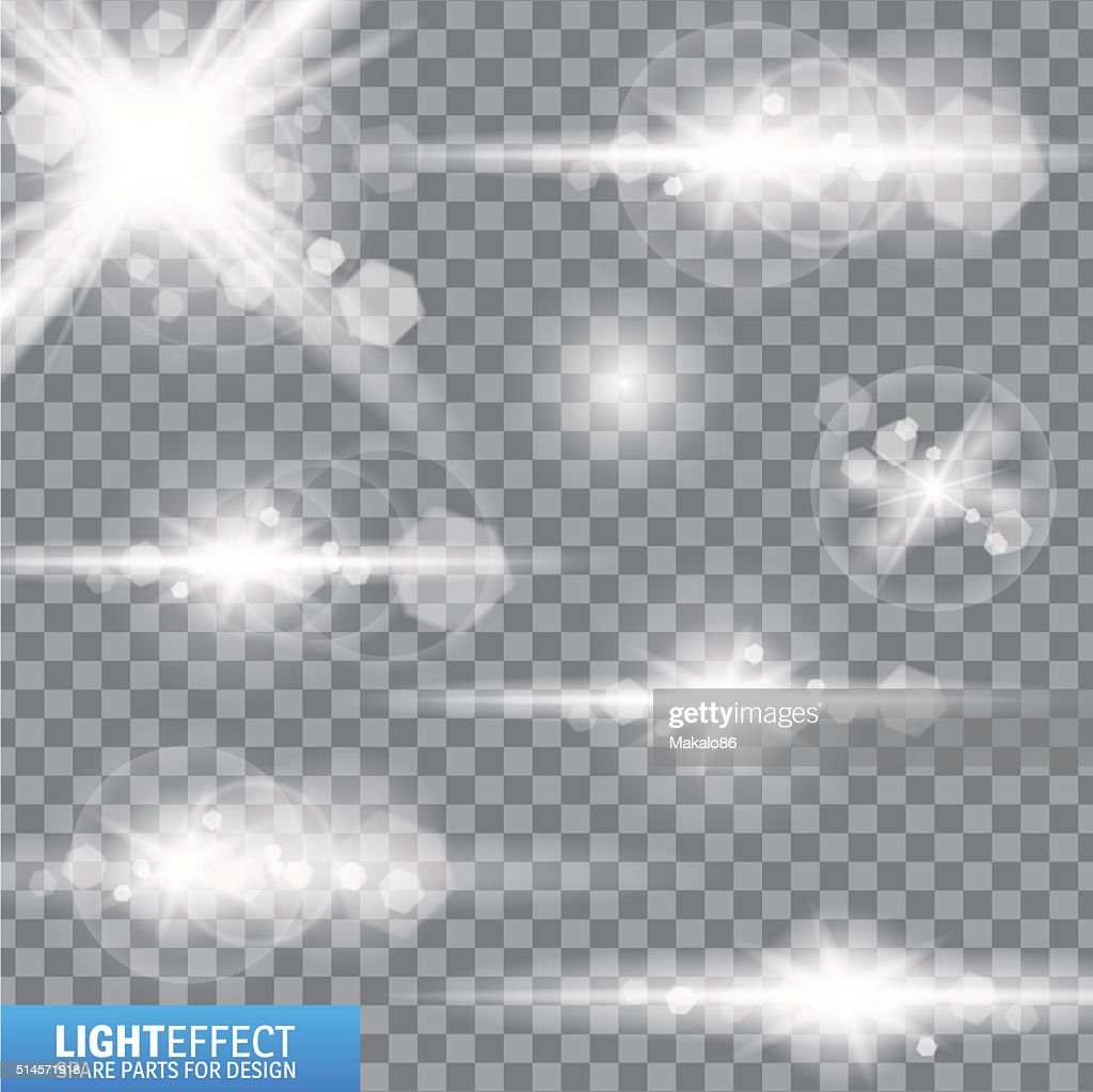 Light effect, flare, lighting. Spare parts for illustration.