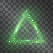 Light effect of triangle frame green with glowing facets of shining stardust sparkles illumination. Glistening energy flow. Ecology theme design element. Nature friendly products neon hazy decor.