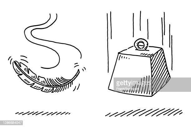 light feather and heavy weight falling drawing - lightweight weight class stock illustrations