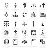 Light fixture, lamps flat glyph icons. Home and outdoor lighting equipment - chandelier, wall sconce, bulb, power socket. Vector illustration, signs for electric, interior store. Pixel perfect 64x64
