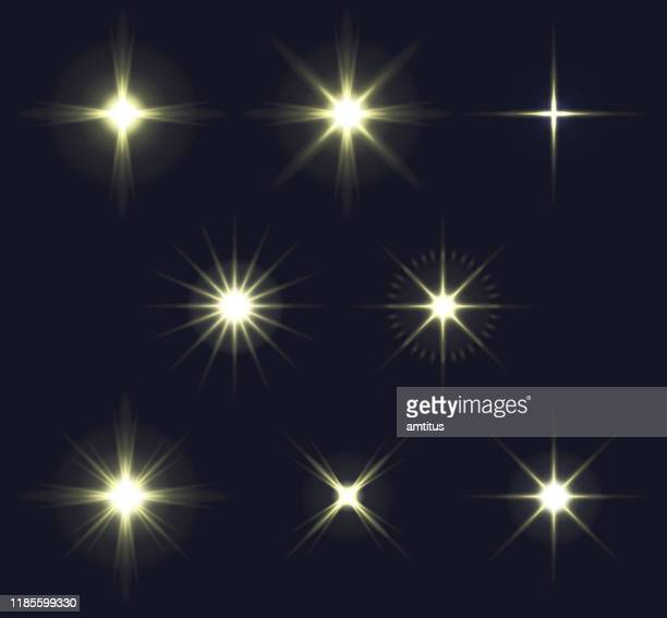 illustrazioni stock, clip art, cartoni animati e icone di tendenza di light flares set - riflesso