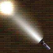Light Flash on Dark Brick Background