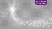 Light glow effect stars bursts with sparkles isolated on transparent background