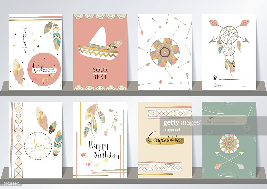Light green gold pink card template in boho style