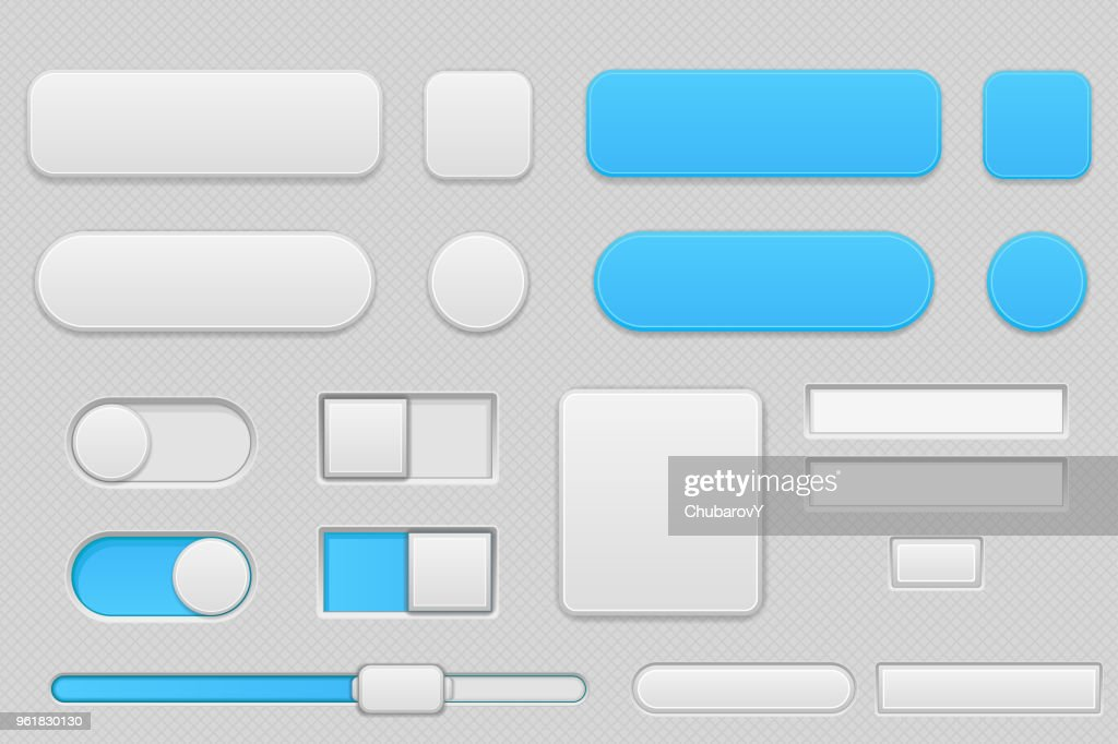 Light grey and blue interface buttons