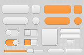 Light grey and orange interface buttons