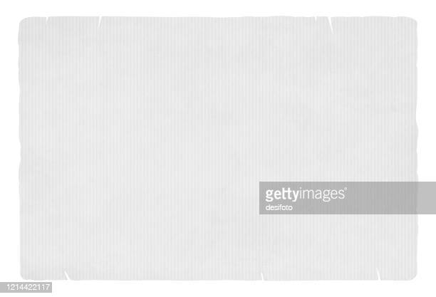 light grey coloured striped backgrounds resembling grunge textured corrugated paper sheet with worn out or ripped edges - paperboard stock illustrations