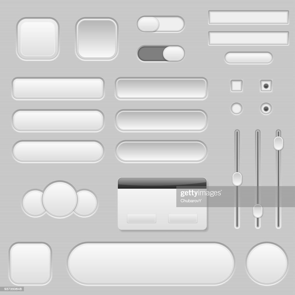 Light grey interface buttons, sliders and toggle switches