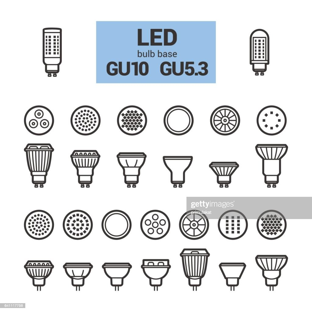 LED light GU10 bulbs vector outline icon set