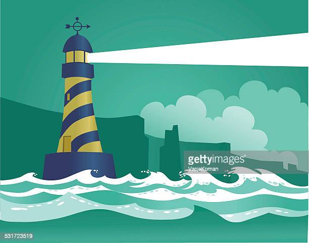 light house and rough sea - rough stock illustrations