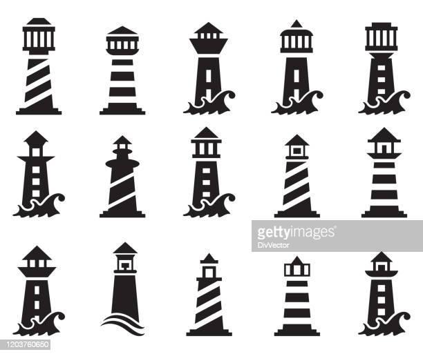 light house logo design - lighthouse stock illustrations
