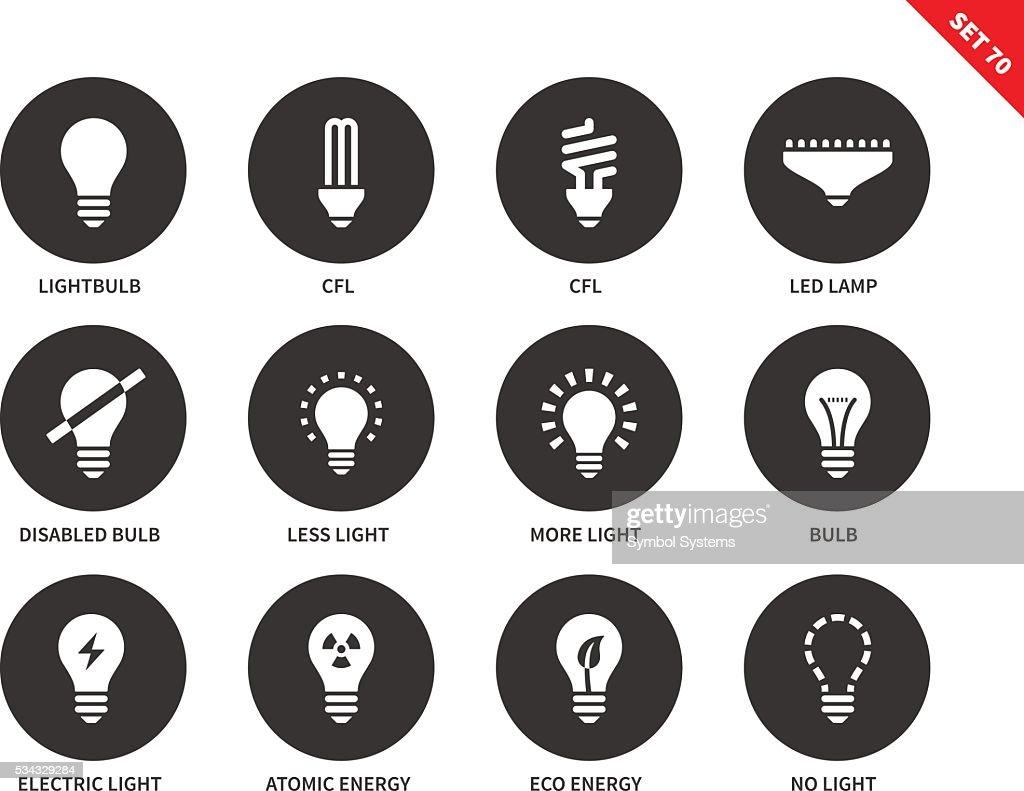 Light icons on white background