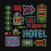 Light neon labels vector illustration